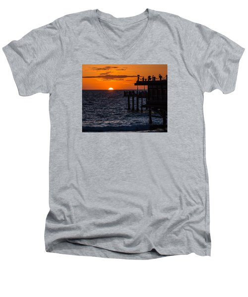 Fishing At Twilight Men's V-Neck T-Shirt