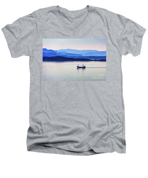 Fishing Boat At Dawn Men's V-Neck T-Shirt