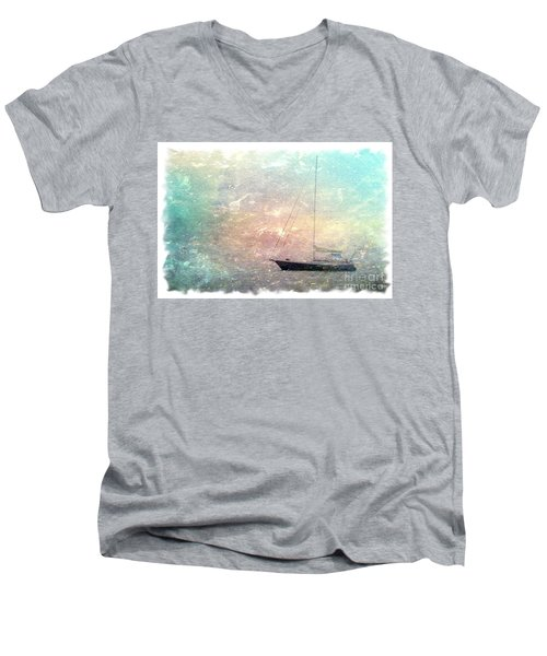 Fishing Boat In The Morning Men's V-Neck T-Shirt