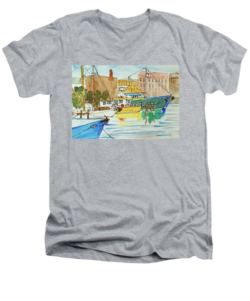Fishing Boats In Hobart's Victoria Dock Men's V-Neck T-Shirt