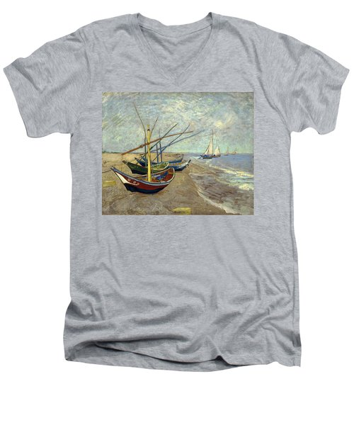Men's V-Neck T-Shirt featuring the painting Fishing Boats On The Beach by Van Gogh