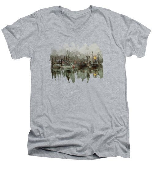 Fishing Fleet Dock Five Men's V-Neck T-Shirt