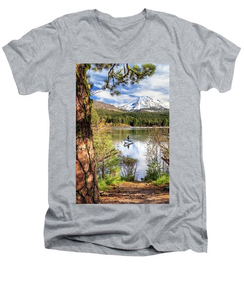 Men's V-Neck T-Shirt featuring the photograph Fishing In Manzanita Lake by James Eddy