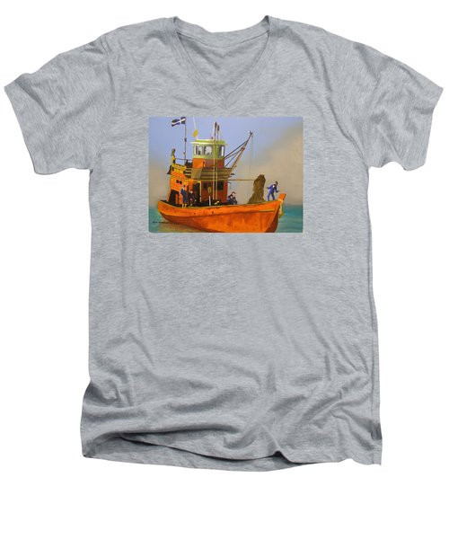 Fishing In Orange Men's V-Neck T-Shirt