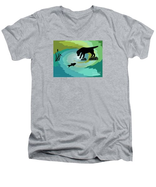 Fishing Labrador Dog Men's V-Neck T-Shirt