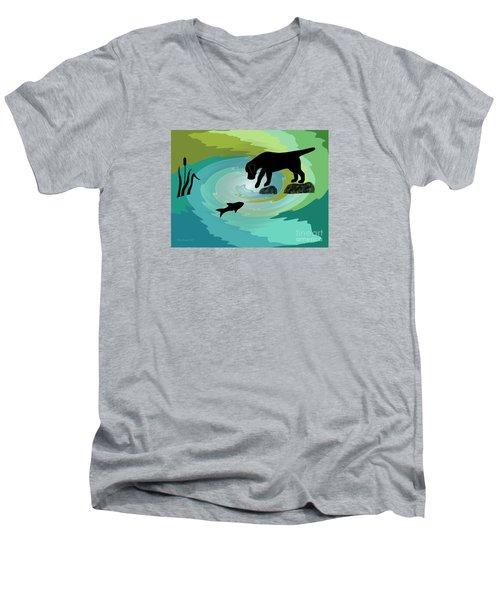 Fishing Labrador Dog Men's V-Neck T-Shirt