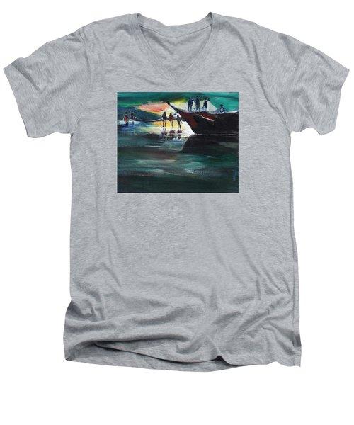 Fishing Line Men's V-Neck T-Shirt