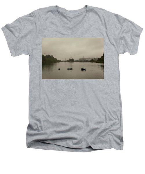 Fishing On Foggy Columbia River Men's V-Neck T-Shirt