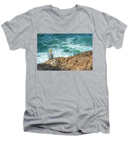 Fishing On Mutton Bird Island Men's V-Neck T-Shirt