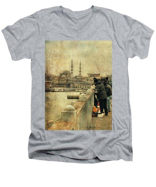 Fishing On The Bosphorus Men's V-Neck T-Shirt by Vittorio Chiampan