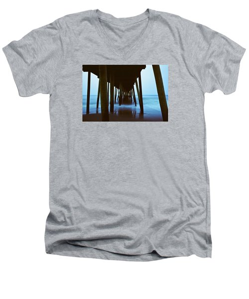 Fishing Pier Men's V-Neck T-Shirt by Scott Meyer