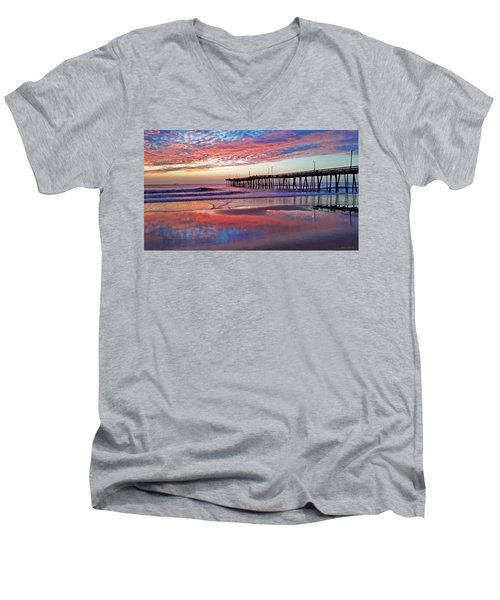 Fishing Pier Sunrise Men's V-Neck T-Shirt by Suzanne Stout