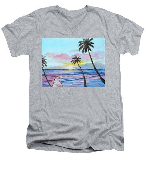 Fishing Pier Sunset Men's V-Neck T-Shirt by Lloyd Dobson