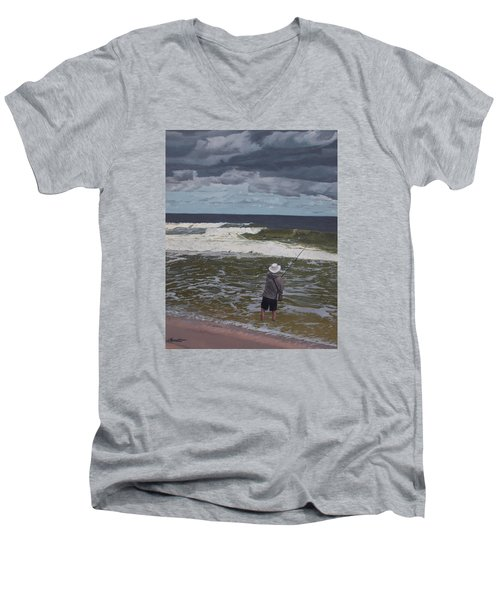 Fishing The Surf In Lavallette, New Jersey Men's V-Neck T-Shirt by Barbara Barber