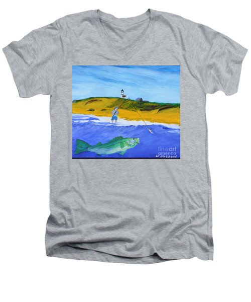 Fishing Under Highland Light Men's V-Neck T-Shirt