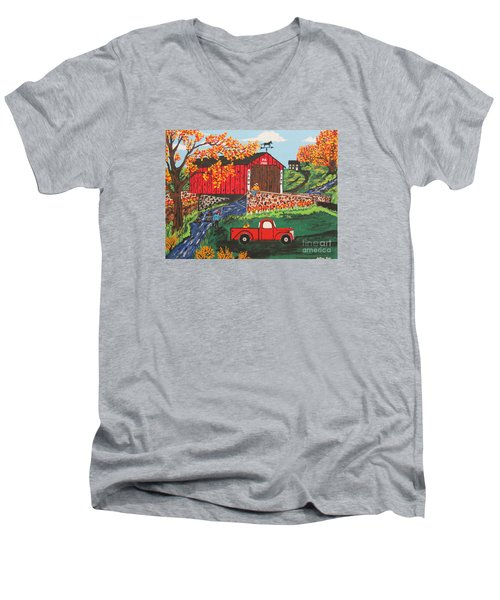 Men's V-Neck T-Shirt featuring the painting Fishing Under The  Covered Bridge by Jeffrey Koss