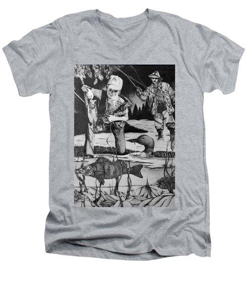 Fishing Vacation Men's V-Neck T-Shirt by Bruce Bley