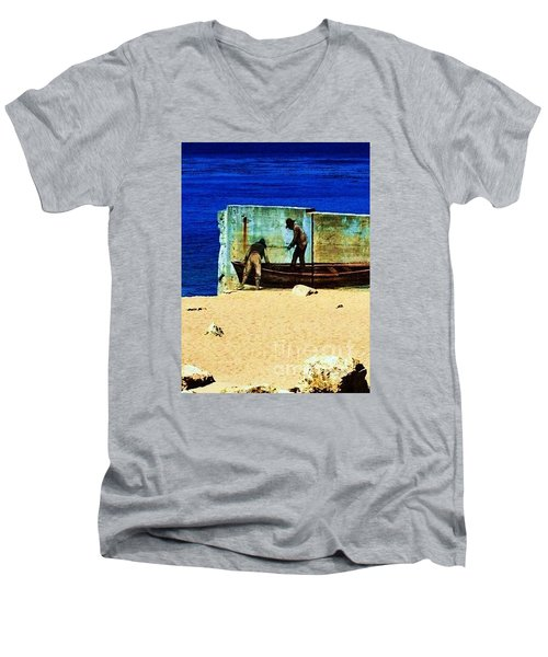 Men's V-Neck T-Shirt featuring the photograph Fishing by Vanessa Palomino