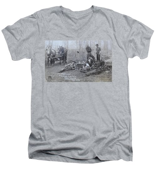 Fishing With The Boys Men's V-Neck T-Shirt by Tammy Schneider