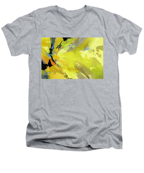 Men's V-Neck T-Shirt featuring the painting Fissures Of Time by Rae Andrews