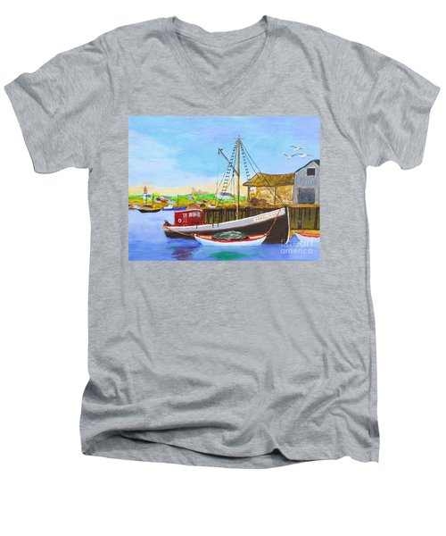 Fitting Out For Seining Men's V-Neck T-Shirt by Bill Hubbard