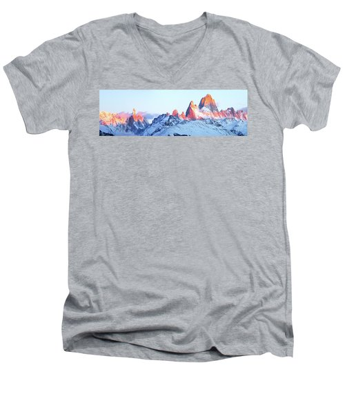 Men's V-Neck T-Shirt featuring the photograph Fitz Roy Peak by Phyllis Peterson