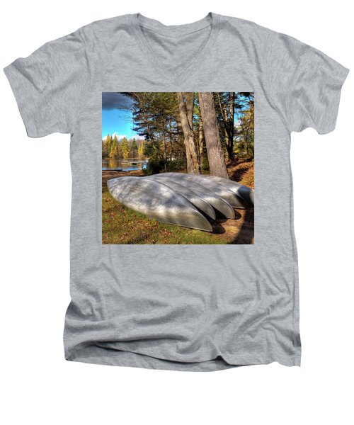 Men's V-Neck T-Shirt featuring the photograph Five Canoes At Woodcraft Camp by David Patterson