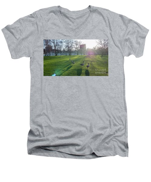 Five Ducks Walking In Line At Sunset With London Museum In The B Men's V-Neck T-Shirt