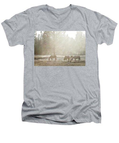 Five Horses In The Mist Men's V-Neck T-Shirt