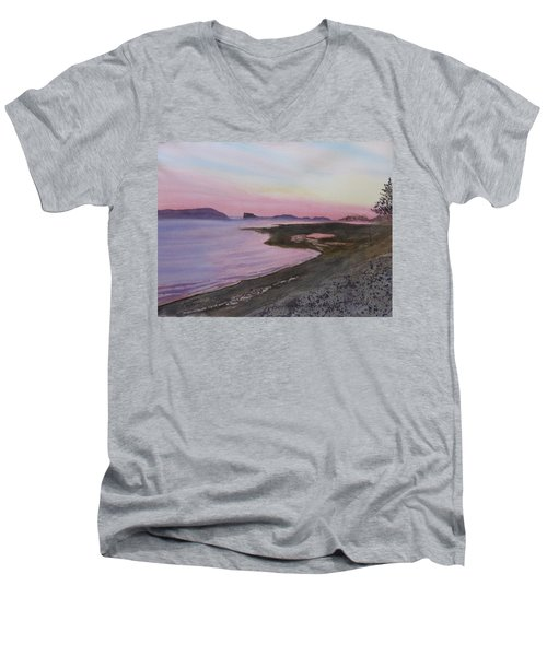 Men's V-Neck T-Shirt featuring the painting Five Islands - Bay Of Fundy by Joel Deutsch