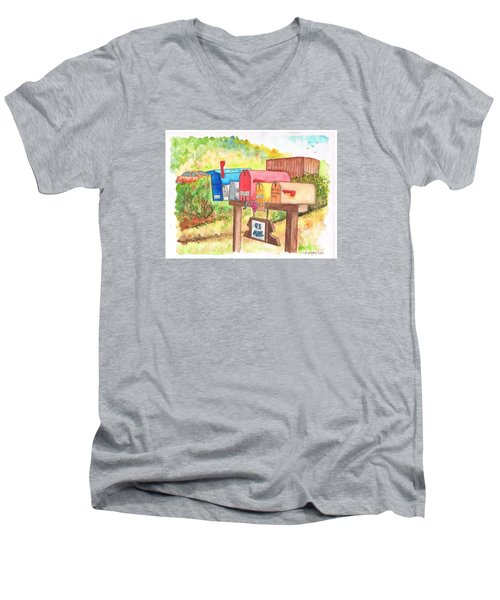 Five Mail Boxes In Route 1, San Simeon, California Men's V-Neck T-Shirt by Carlos G Groppa