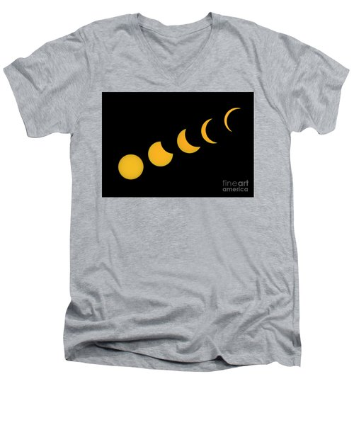 Five Phases Of The Eclipse Men's V-Neck T-Shirt