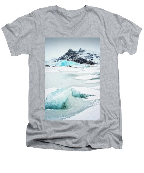 Men's V-Neck T-Shirt featuring the photograph Fjallsarlon Glacier Lagoon Iceland In Winter by Matthias Hauser
