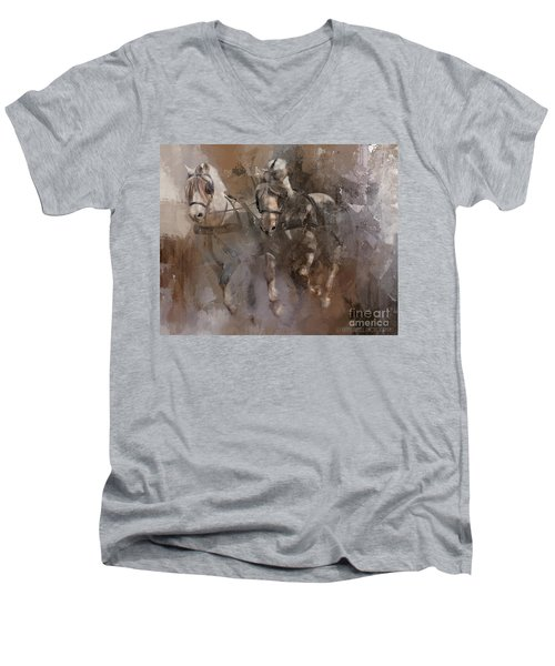 Fjords On The Run Men's V-Neck T-Shirt by Kathy Russell