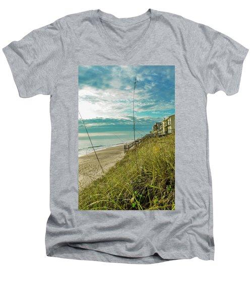 St Aug Beach Men's V-Neck T-Shirt by Josy Cue