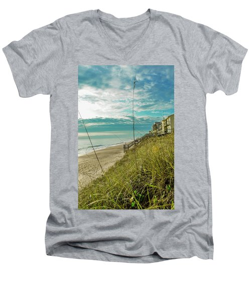 St Aug Beach Men's V-Neck T-Shirt