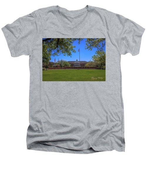 Men's V-Neck T-Shirt featuring the photograph Flag At Entrance by Gregory Daley  PPSA
