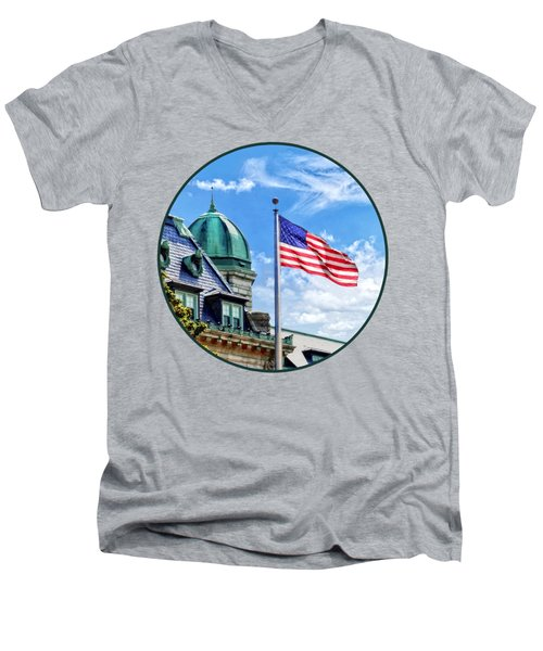 Flag Flying Over Tecumseh Court Men's V-Neck T-Shirt