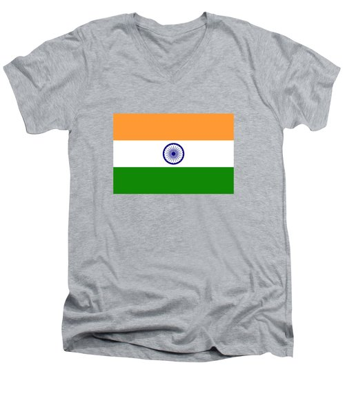 Flag Of India Authentic Version Men's V-Neck T-Shirt by Bruce Stanfield