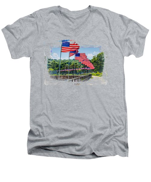 Flag Walk Men's V-Neck T-Shirt by John M Bailey