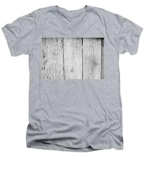 Men's V-Neck T-Shirt featuring the photograph Flaking Grey Wood Paint by John Williams