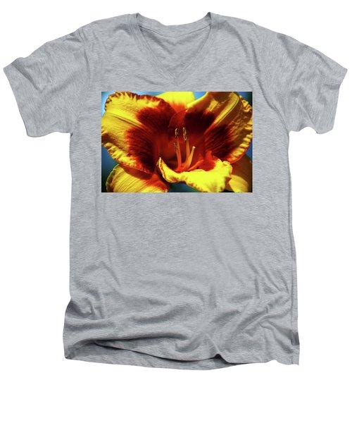 Flame Daylily 1238 H_2 Men's V-Neck T-Shirt