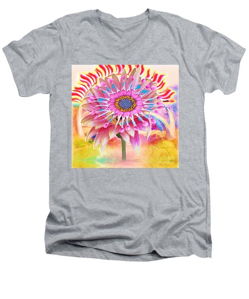 Flaming Sunrise Men's V-Neck T-Shirt by Belinda Threeths