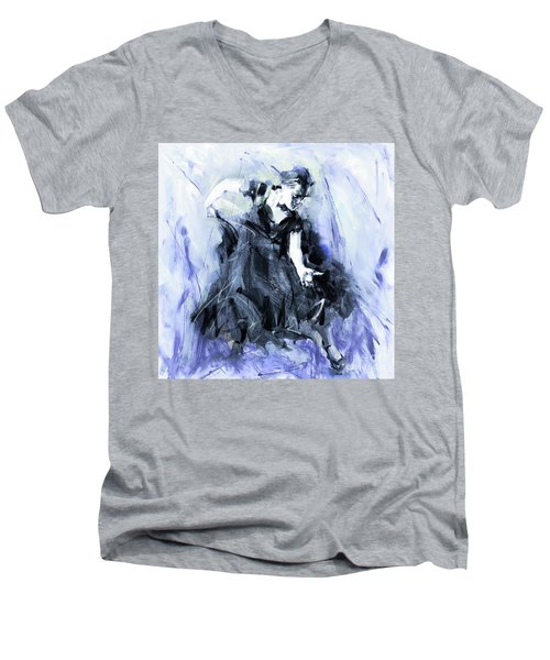 Men's V-Neck T-Shirt featuring the painting Flamenco Dancer Art 45h by Gull G