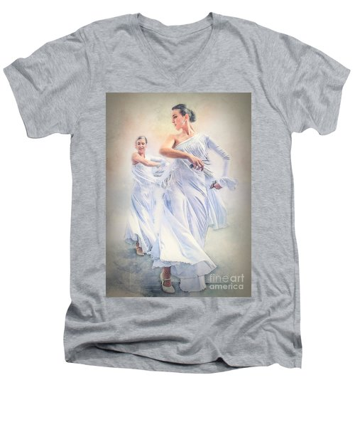 Flamenco In White Men's V-Neck T-Shirt