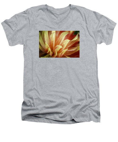 Flaming Dahlia Men's V-Neck T-Shirt by Mary Angelini