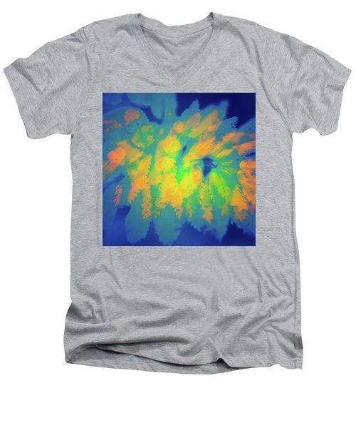 Men's V-Neck T-Shirt featuring the photograph Flaming Foliage 2 by Ari Salmela