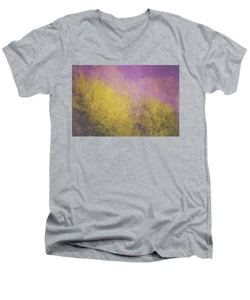 Men's V-Neck T-Shirt featuring the photograph Flaming Foliage 3 by Ari Salmela