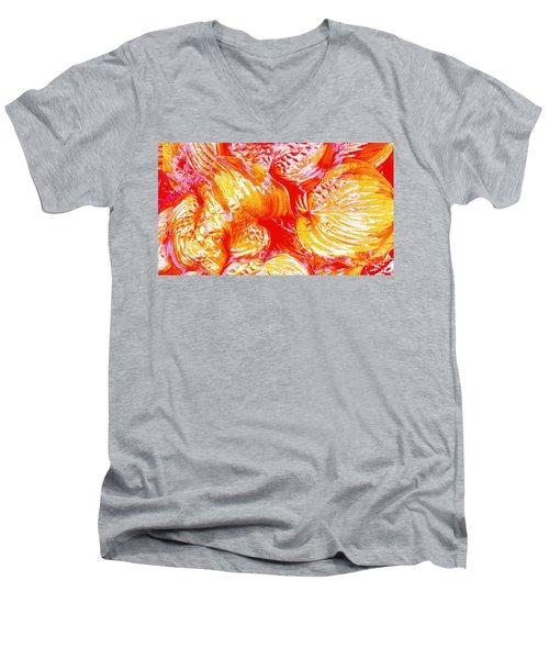 Flaming Hosta Men's V-Neck T-Shirt