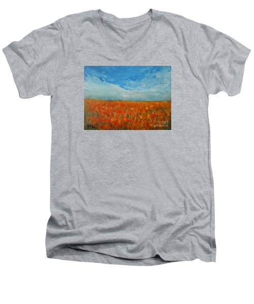 Men's V-Neck T-Shirt featuring the painting Flaming Orange by Jane See